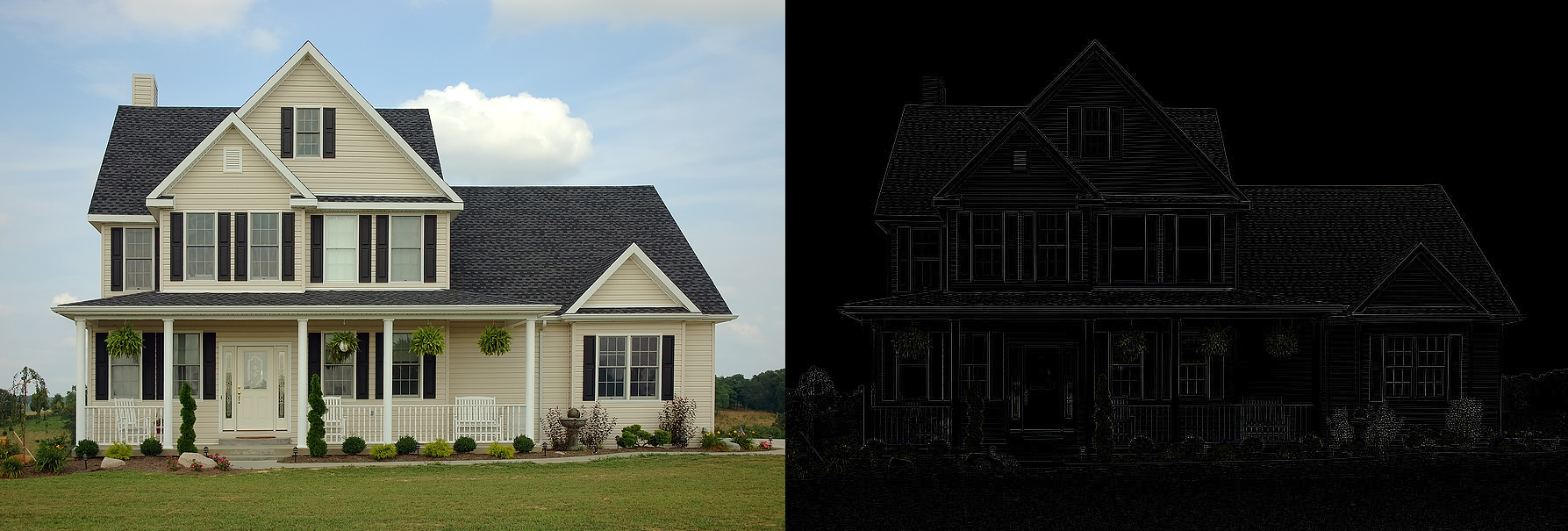 Edge detection convolution on a photo of a house.